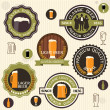 Stock Vector: Collection of beer badges and labels in vintage style