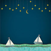 Sailboats at night. Vector paper-art — Stock Vector