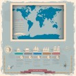 Retro style world map with nautical design elements — Stock Vector