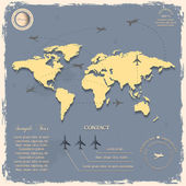 World map with aircrafts for design in vintage style — Stock Vector