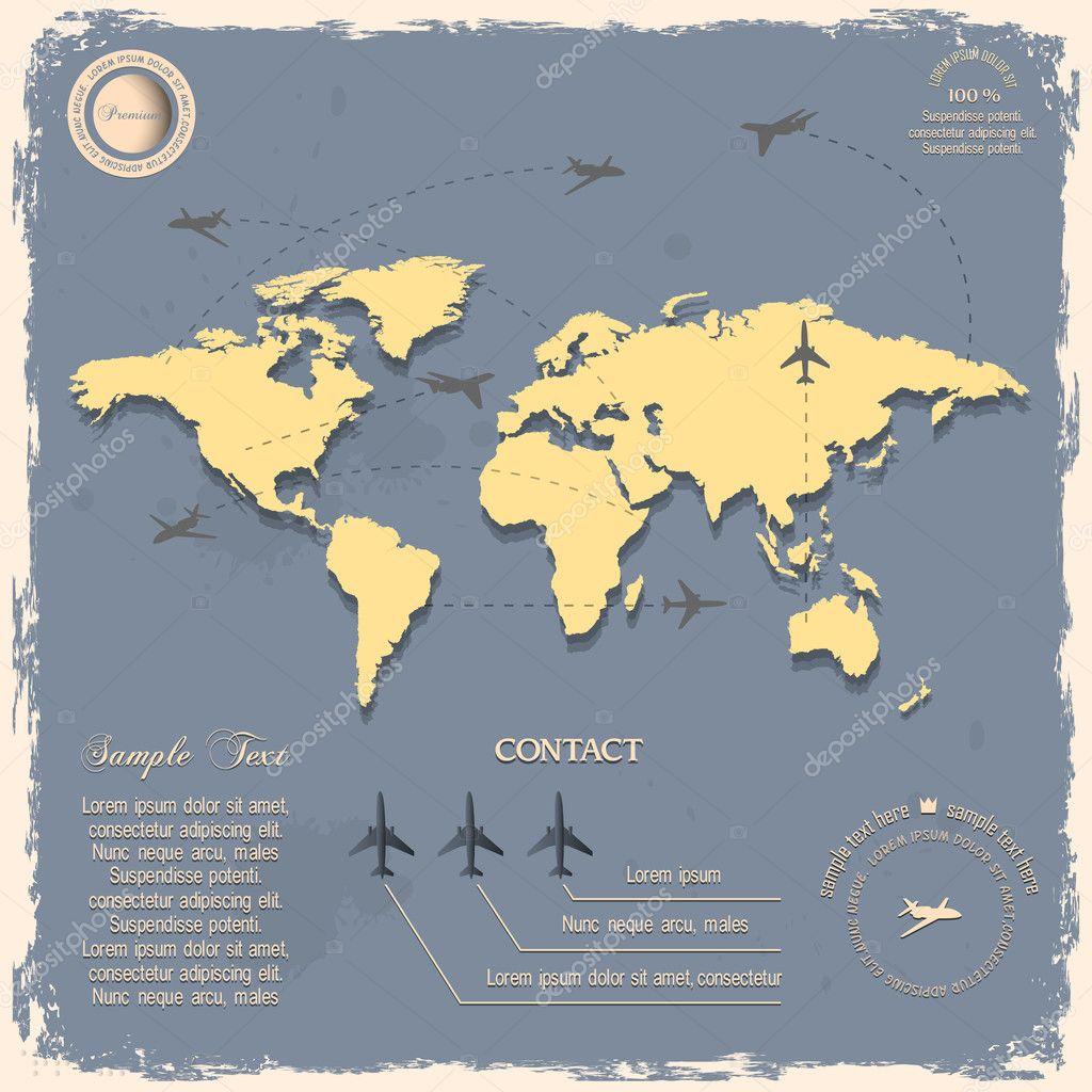 与飞机设计的复古风格的世界地图