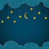 Moon and stars. Vector paper-art — Vettoriale Stock