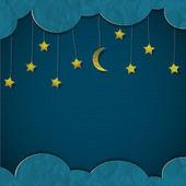 Moon and stars. Vector paper-art — Stock Vector