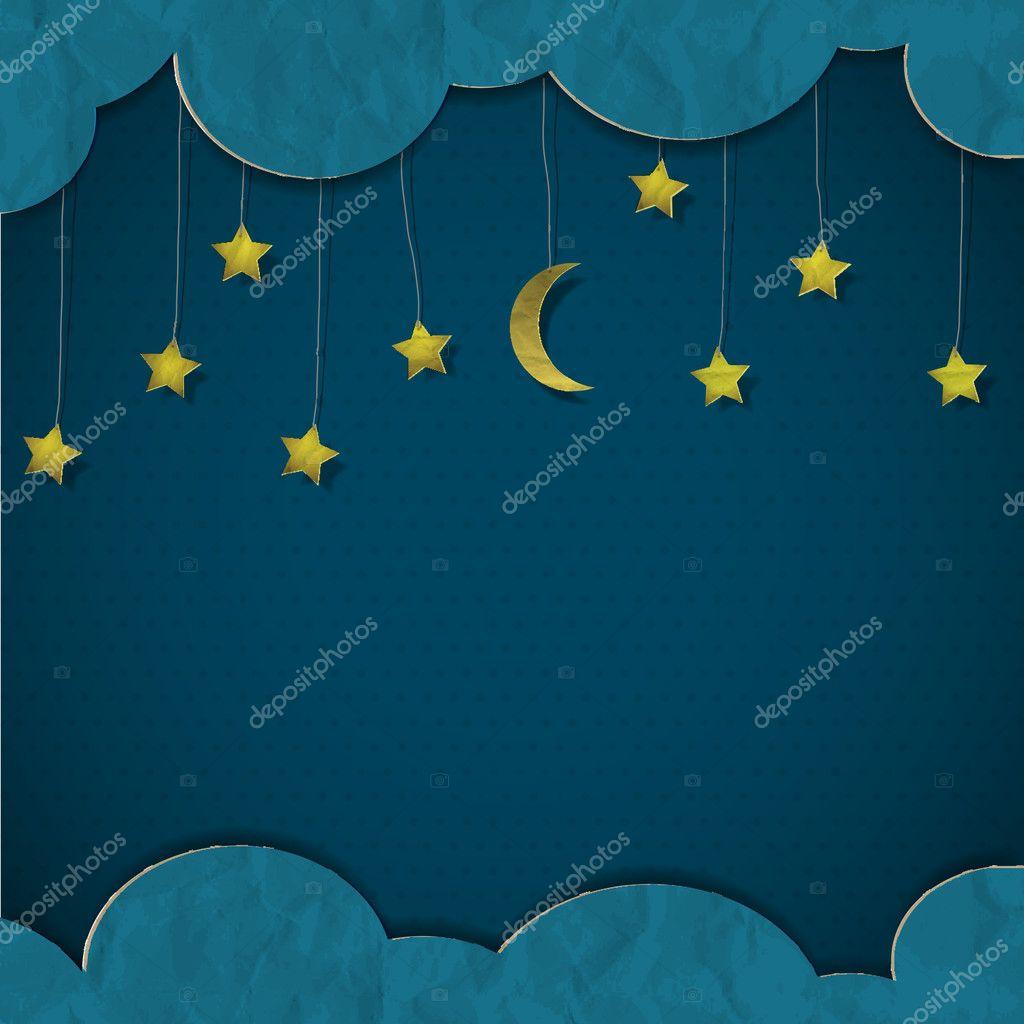 月亮和星星.矢量纸艺术