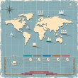 World map in retro style design — Stock Vector