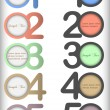 Round numbered banners in different colors — Stock Vector