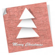 Pink vector postcard with paper christmas tree — Stock Vector