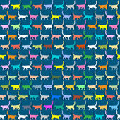 Seamless wallpaper with colorful silhouettes cats — Stock Vector