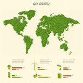 Mapa del mundo con eco infografía elementos estilizado — Vector de stock