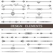Vecteur série d'éléments de dessin calligraphique et décor de page — Vecteur
