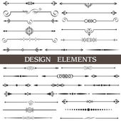 Vector set of calligraphic design elements and page decor — Stok Vektör