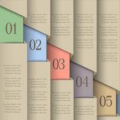 Banderas de papel numerado — Vector de stock