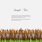 Rustic fence with grass — Stock Vector