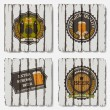 Stock Vector: Beer badges and labels on old wood background