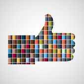 Thumb up - Like made of colorful blocks — Stock Vector