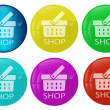 Shop colored Web button set — Stock Vector
