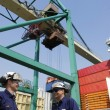 Port workers and container ship — Stock Photo