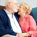 Senior Couple Flirting and Laughing — Stock Photo