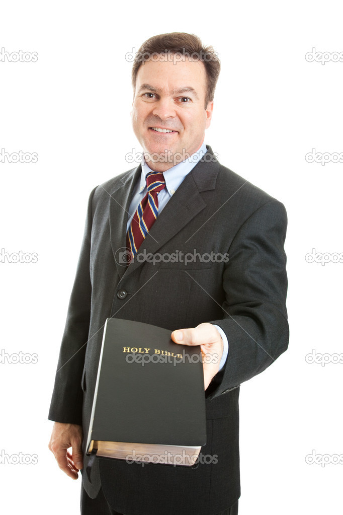 Christian businessman, minister, or missionary, holding a bible.  Isolated on white. — Stock Photo #11048401