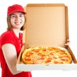 Teen Girl Delivers Pizza — Stock Photo