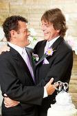 Gay Wedding Couple Embrace — Stock Photo