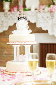 Wedding Cake with Two Groom Topper — Stock Photo