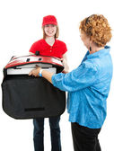 Accepting Pizza Delivery — Stock Photo