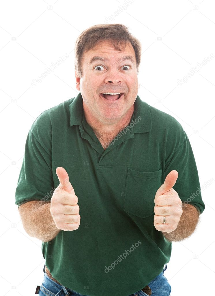 Casually dressed mature man making a silly face and giving two thumbs up.  Isolated on white. — Stock Photo #11315791