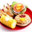 Stock Photo: Healthy Eating - Turkey Burger Isolated