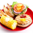 Healthy Eating - Turkey Burger Isolated - Stockfoto