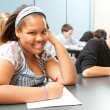 Pretty African-American Teen in Class — Stockfoto