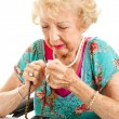Senior Woman Saying the Rosary — Stock Photo