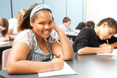 Pretty African-American Teen in Class — Stock Photo
