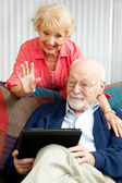 Video Chat with the Grandkids — Stock Photo