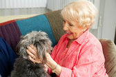 Senior Lady Loves Her Dog — Stock Photo