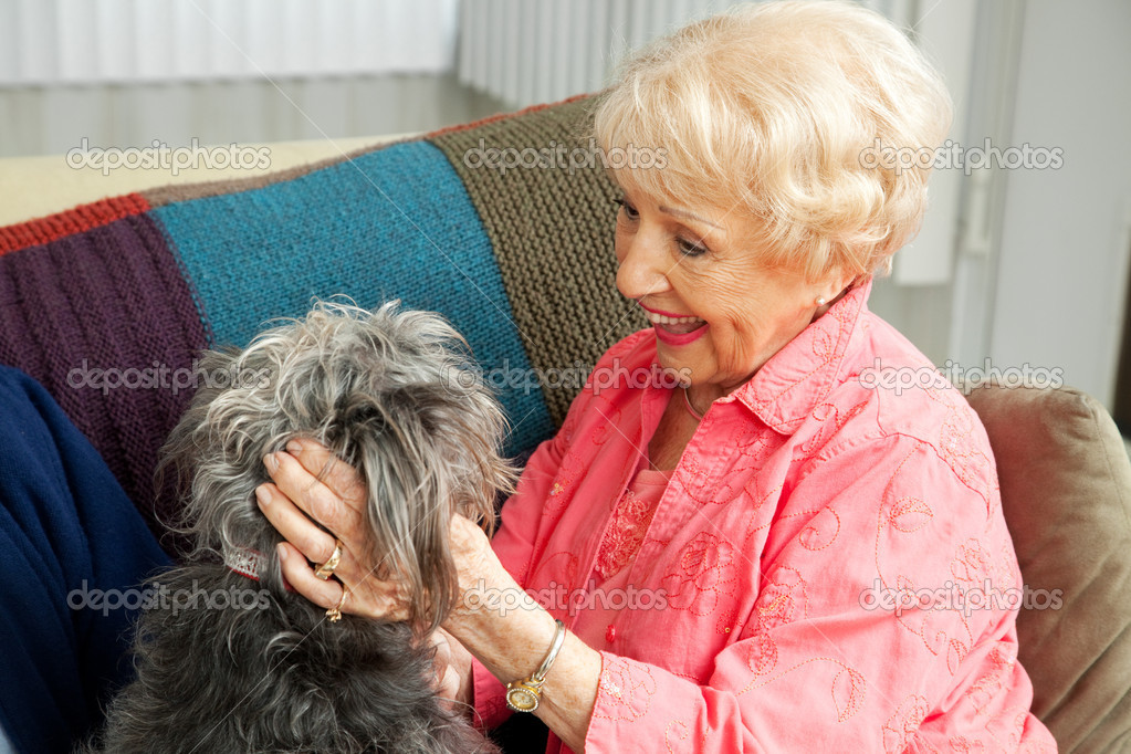 Beautiful senior lady pats her adorable mixed breed dog.  Stock Photo #11633271