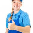 Pretty Teen Worker - Thumbs Up — Stock Photo