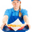 ������, ������: Teen Girl Serves Fast Food