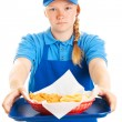 Royalty-Free Stock Photo: Teen Girl Serves Fast Food