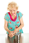 Senior Woman with Arthritis Pain — Stock Photo
