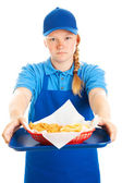 Teen Girl Serves Fast Food — Stock Photo