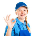 Blond Teenage Worker - A Okay — Stock Photo