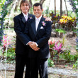 Gay Couple Under Wedding Arch - Stock Photo