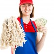 Teenage Worker Earning Money - Stock Photo