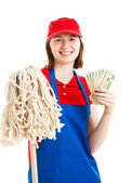 Teenage Worker Earning Money — Stock Photo