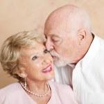 Senior Couple - Kiss on the Cheek — Stock Photo