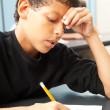Struggling School Boy — Stock Photo