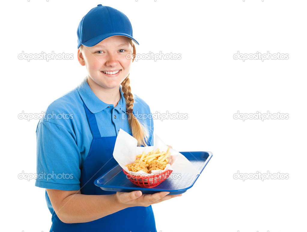 fast food worker teenager stock photo copy lisafx  teenage fast food worker holding a tray of chicken nuggets and fries isolated on white photo by lisafx