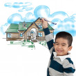 Boy drawing the dream house — Stock Photo