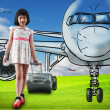 Girl travel around the world with airplane — Stock Photo